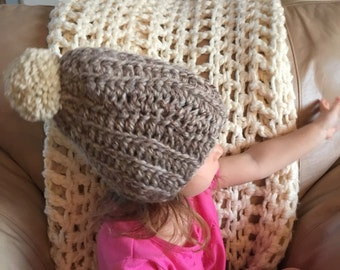 Pom Pom Slouch Hat | Baby | Toddler | fold up style | Choose Colors