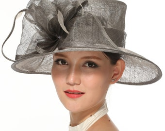 Church Kentucky Derby Carriage Tea Party Wedding Wide Brim Woman's Royal Ascot Hat in Solid Sinamay Hat Gray/Silver