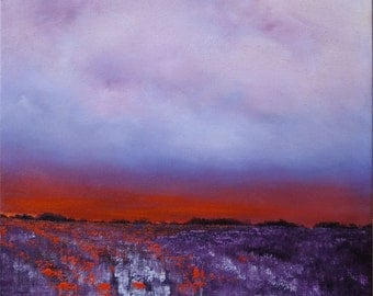 Oil Painting Midwest Landscape Twilight Sky Painting by Faith Patterson