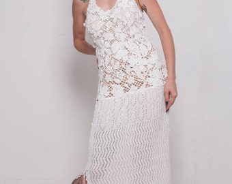Crochet white dress KNIT wedding Dress White Viscose Dress Maxi Dress Crochet white Dress IVORY dress Beach White SunDress Bridal Maxi Dress