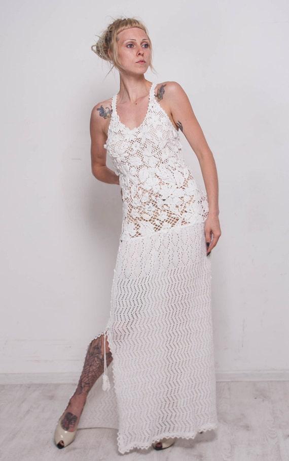 Crochet White Dress Knit Wedding Dress White Viscose Dress