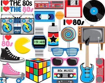 I Love The 80s v2- Digital Clipart, Clip Art Graphics, Personal Use, Commercial Use, Instant download - 105 images (00248)