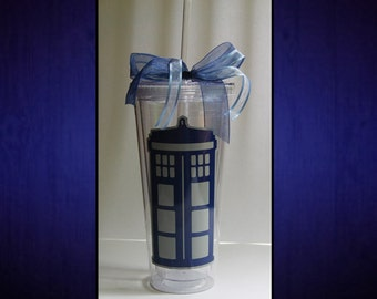 Tardis 30 oz. Doctor Who Cup with Straw