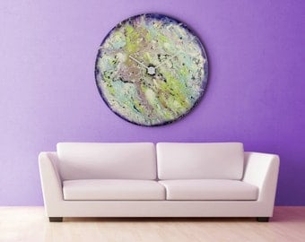 Office Wall Art, Investment art, Unique Wall light, Original, Abstract painting, Glass Art, Glass clock, Unique wall clock, Uk sellers only
