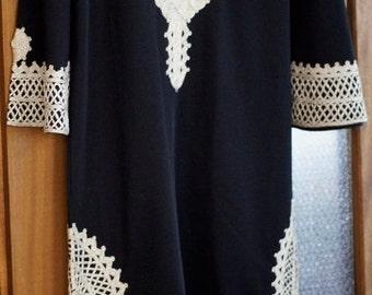 Ref: 168 - Vintage Ethnic embroidered black kaftan. 1970's