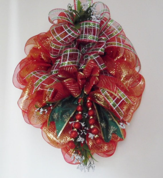 Items similar to oval wall decor red deco mesh wreath door decoration christmas wreath - Oval wall decor ...