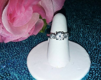 April Crystal Birthstone Stainless Steel Cubic Zirconia Ring