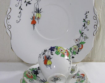 Art Deco 1930  Royal Albion Hand Enameled Floral  Pattern Trio Cup Saucer ,Sideplate and Cake Plate