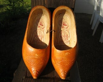 French Vintage Childrens Wooden Clogs.