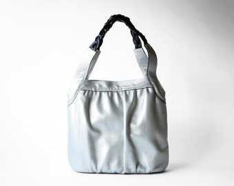 Gold Metallic Ruched Leather Tote