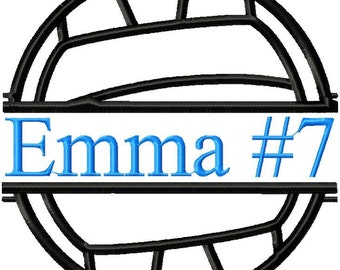Machine Embroidery Design - Volleyball Frame for name,team number - comes in 4 sizes, 3x3,4x4,6x6 and 8x8