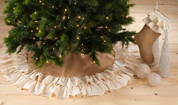 Burlap And Ruffle Christmas Tree Skirt By BlingSassSparkle