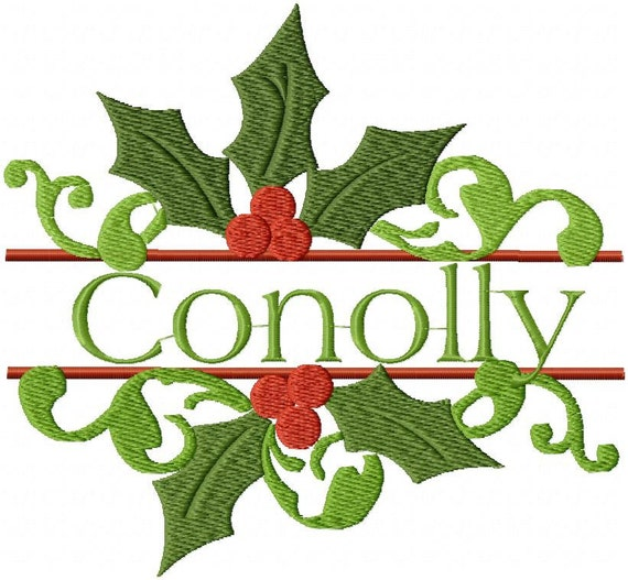 Machine embroidery design split holly name by blingsasssparkle
