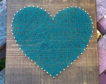 String Art Heart, In Your Color Choice, NailedItDesign, Wood Heart Sign, Heart Home Decor, Nail Heart Sign, Unique Gifts, Custom Made Sign