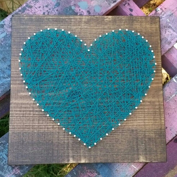 Wood Nail Art: String Art Heart In Your Color Choice NailedItDesign Wood
