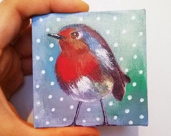 Miniature Artwork - Tiny Robin -  mixed media Canvas! Soooo cute! Only 70mm!