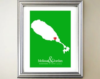 St Kitts Custom Vertical Heart Map Art - Personalized names, wedding gift, engagement, anniversary date