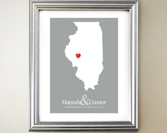 Illinois Custom Vertical Heart Map Art - Personalized names, wedding gift, engagement, anniversary date