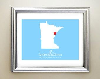 Minnesota Custom Horizontal Heart Map Art - Personalized names, wedding gift, engagement, anniversary date
