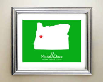 Oregon Custom Horizontal Heart Map Art - Personalized names, wedding gift, engagement, anniversary date
