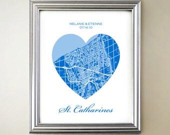 St Catharines Heart Map Print