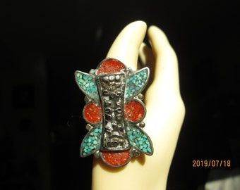 Native Tibetan Silver With Genuine Turquoise and Coral Ring Size 8.5, Wt. 21.2 Grams