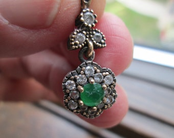 Vintage  Inspired Deco .73ctw Emerald & White Sapphire Rose Gold/925 Sterling Silver Pendant 3.8 G, 29 x 11mm