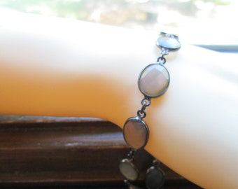Estate Black Rhodium Sterling Silver 20.00ctw Rose Cut Blue Chalcedony Bracelet 8 G, 7.5 Inches Long, 9.75mm Wide