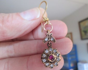 Handcrafted  Deco .50ctw Red Ruby & White Sapphire Gold/925 Sterling Silver Dangle Earrings, Wt. 9.3
