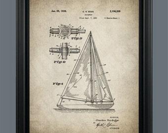 Sailboat Patent Print - Sailboat Poster - Sailboat Art - Vintage Boat Poster - Patent Poster - Instant Download - Ready to Print - #068