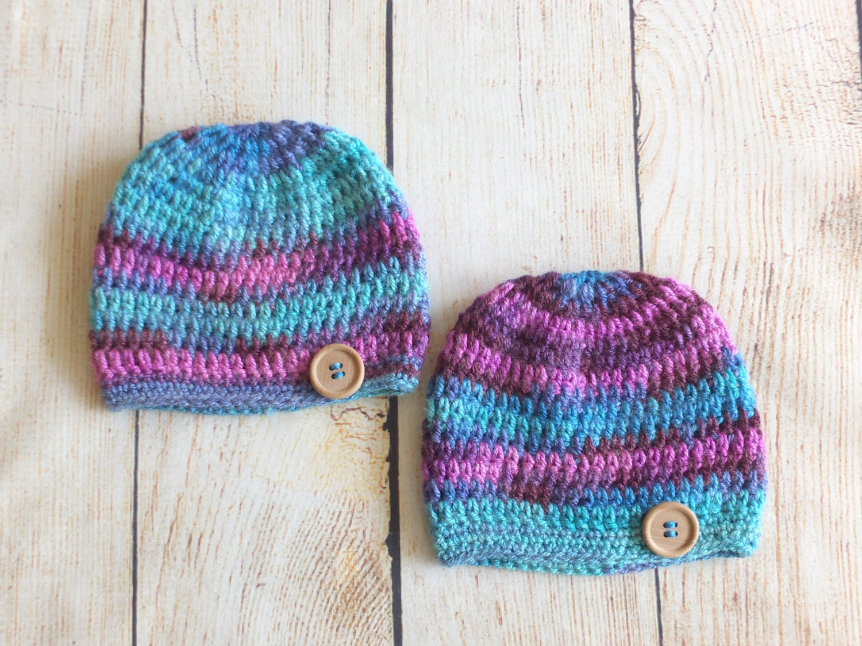 Crochet Hat Patterns For Twin Babies : Crochet Twin Hats Twin hats Baby Twin Hats by HandmadebyInese