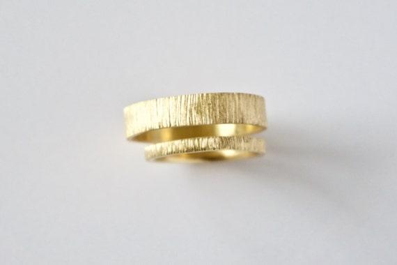Wedding Ring Set - Two Tree Bark Bands  - 18 Karat Gold - Men's Women's - Couples Set - Unisex - His Hers Unique
