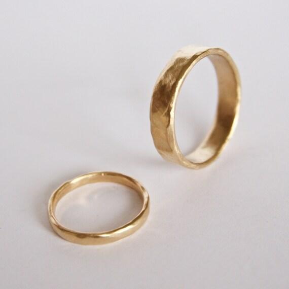Two Organic Shape Gold Rings - Wedding Ring Set - 18 Carat Gold Molten Ring