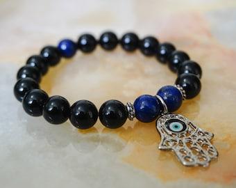 Mens Bracelet,Black Onyx and Lapis Lazuli Bracelet,Mens Jewelry,Beaded Bracelet,Hamsa Charm,Mens Bracelet,Black Bracelet,Gemstone Jewelry