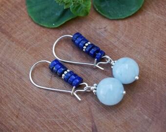 Aquamarine and Lapislazuli Earrings,Blue Earrings,Blue Silver Earrings,Aquamarine Jewelry, Bohemian Earrings,Gemstone Earrings,Blue Jewelry