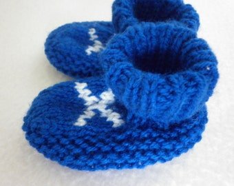 Baby's Scottish Saltire, Hand Knitted, Bootees