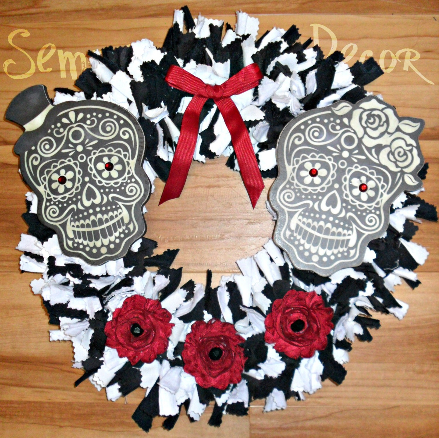 Skull Wreath Sugar Skull Wreath Sugar Skull Decor Day Of