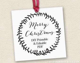 "Printable Merry Christmas Gift Tags // Editable Christmas Tag // DIY Digital PDF // Rustic Tag White and Black 2"" Square Custom Template 2x2"