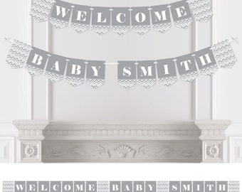 Chevron Gray - Bunting Banner - Personalized Baby Shower, Bridal Shower or Birthday Party Decorations