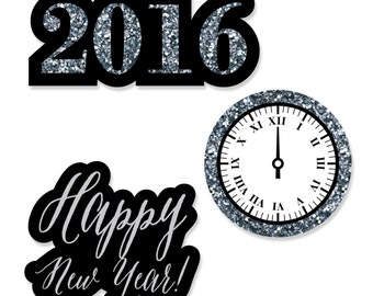 24 pc. New Year's Eve - Silver Shaped Paper Cut Outs - New Year's Eve Party Decoration Kit