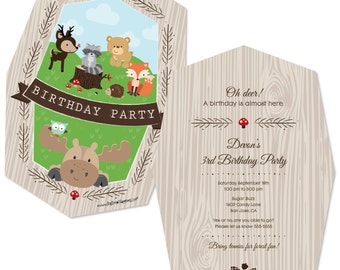 Woodland Party Invitations - Woodland Creatures Invite for a Birthday Party - Deer, Raccoon, Bear, Fox, Hedgehog, Moose Invite - 12 ct