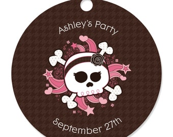 Skullicious - Girl Skull Personalized Party Tags - Baby Shower or Birthday Party DIY Craft Supplies- 20 Count