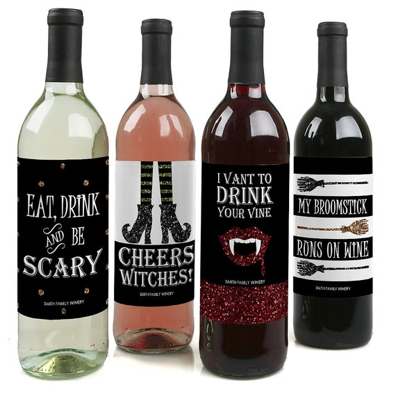 Spooktacularly Sophisticated - Custom Hollween Party Wine Bottle Labels for Adult Halloween Parties - Set of 4 Personalized Sticker Labels