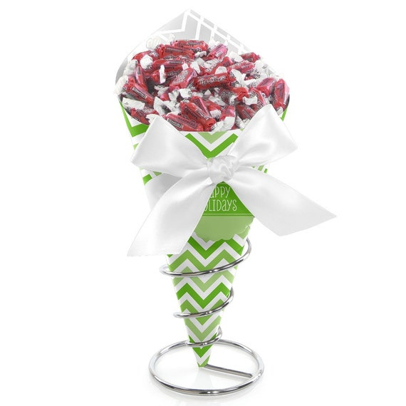 Chevron holiday green candy bouquet party