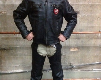 Custom leather Indian Motorcycle jacket with chaps and belt