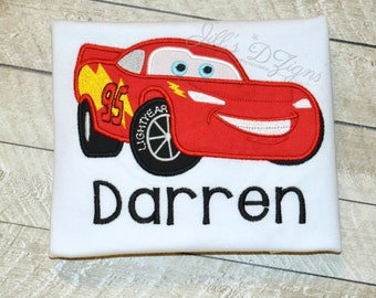 Personalized Custom Name Disney World Birthday Shirt Disney CARS Lightening McQueen 1-9 Race Car Name
