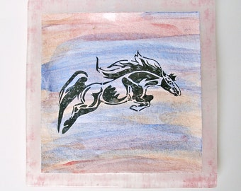 Watercolor Equine Art Fused Glass Dish Equestrian Home Decor Horse Decor Horse Painting Glass Plate