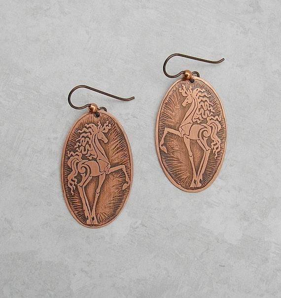 Horse Dangle Earrings Equestrian Jewelry Copper Earrings