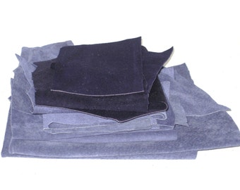 Leather Scraps - 11 oz - Genuine Suede Pieces - Blue - Upcycled Recycled - Leather Fabric