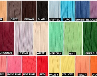 "Skinny Elastic 1/4"", Thin Elastic Wholesale for Headbands, 1/4"" Skinny Elastic By the Yard or 5 Yards or 10 Yards 28 Colors"